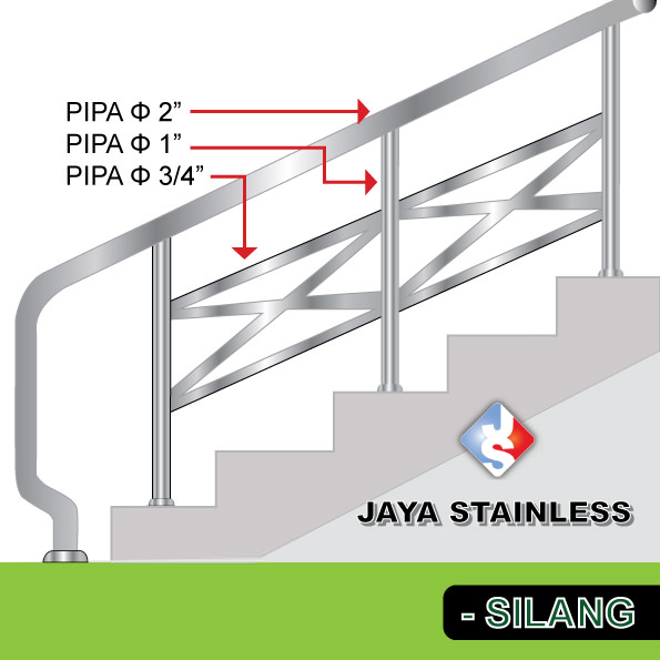 Railing stainless - Model silang