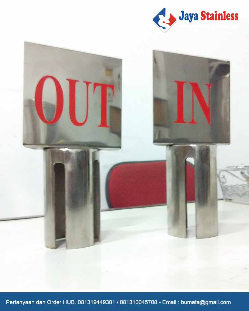Sign frame IN OUT - Tiang diplay tambahan tiang Antrian IN dan OUT