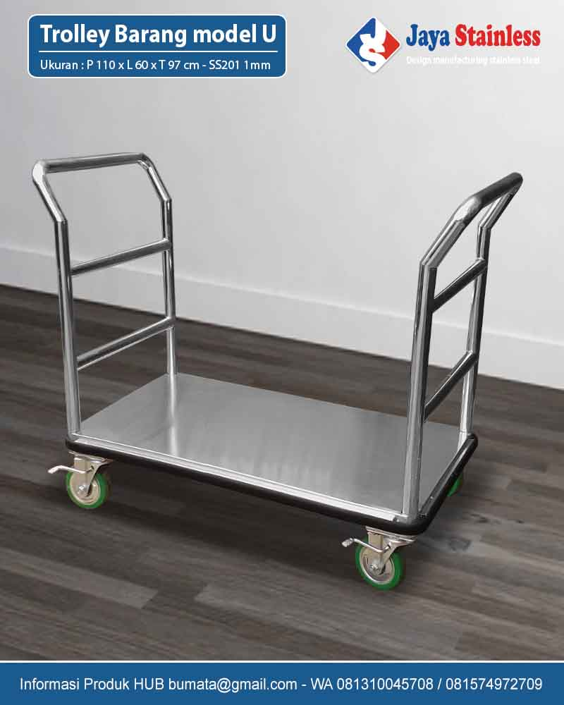Trolley Barang Stainless Model U - Trolley Stainless double handle